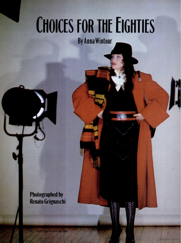 1982 DP in New Yorker by Anna Wintour Choices for the 80's