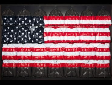 "Moncler: A Tribute to New York with an installation of the ""USA Flag"" by Thom Browne"