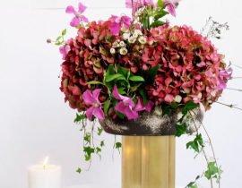 Ikebana installation done by florist Arturo Ortega featuring Sophie Dries Ceramics