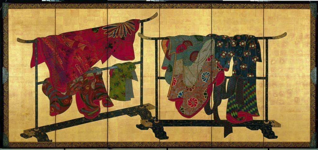 Paravent à six panneaux représentant des kimonos suspendus (tagasode) (paravent droit) couleurs sur papier, première moitié du XIXe siècle, H. 153,7 ; L. 349,2 cm, Collection Matsuzakaya. Crédits: J. Front Retailing Archives Foundation Inc./Nagoya City Museum