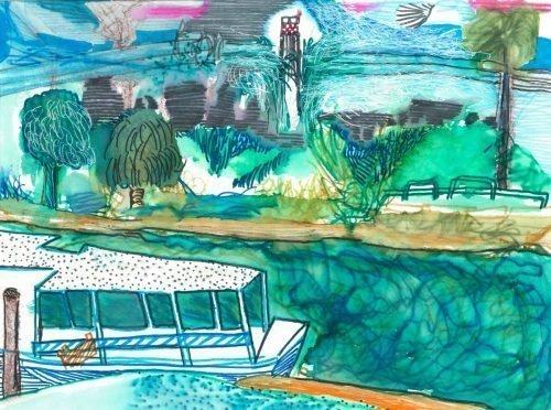 Blue Boat at HaYakon River Tel Aviv