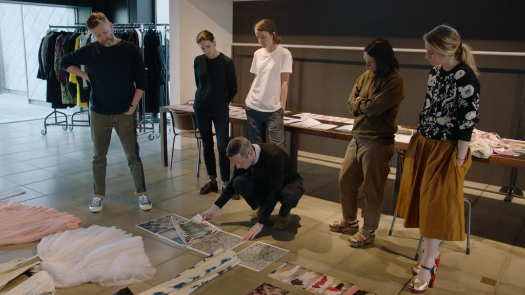 Dries Van Noten with his Women Design Team, working on prints for the Women Summer collection 2016