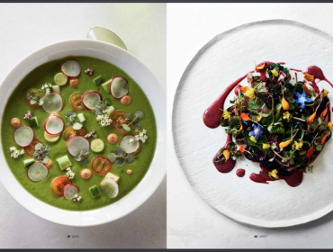 Avocado Gazpacho with Radish Sprouts; Arata Salad with Flowers & Blueberry-Wasabi Dressing